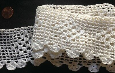 """Traditional Off-white Crochet Lace, Insert ,Trim, Edging, 40"""" long, 2 1/4"""" wide"""