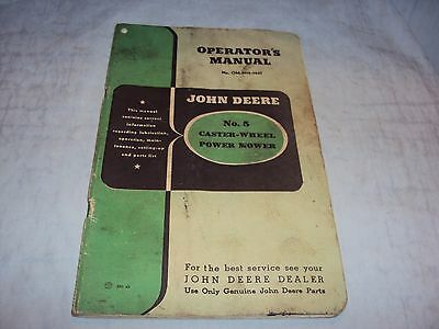 John Deere No. 5 Caster Wheel Power Mower Operators Manual Original