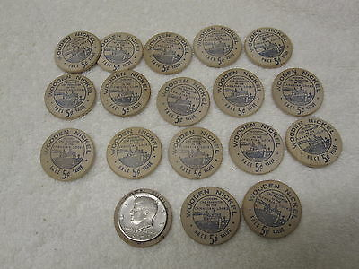 Lot of 18 Vintage SOO LOCKS Wooden Nickels 1955 Centennial Celebration Ex Shape
