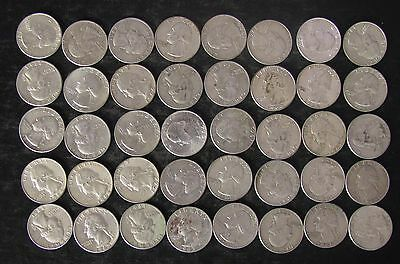 Roll (40) 90% Silver Washington Quarters Coins, mixed dates - No Reserve