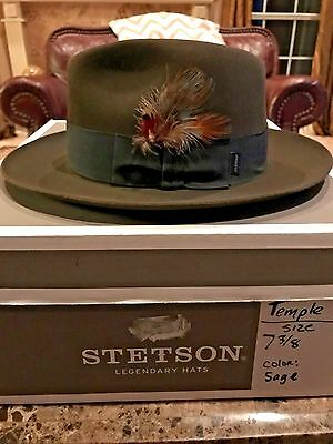 """Stetson """"temple"""" Soverieign Sage Size 7 3/8 Great Dress Fedora!"""