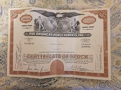 2 Pan American World Airways, Inc. Stock Certificate 1967/68 In Great Condition