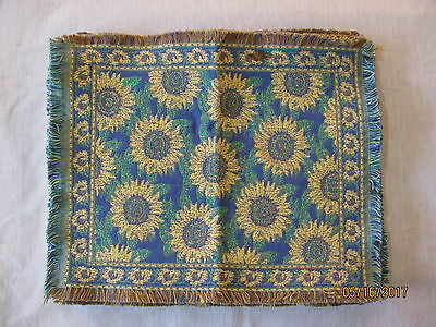 """Set 3 Floral Sunflower Fringed Placemats, 16 1/4"""" x 12 1/2"""""""
