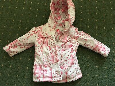 Baby Girls Reversible Pink And White Coat Jacket Size 6-9 Months
