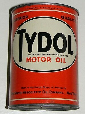 TYDOL MOTOR OIL CAN AUTHENTIC VTG TIDE WATER CO.1940s VEEDOL FLYING A