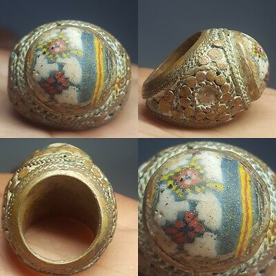 Very Old Glass Bronze Stunning Unique Ring # v