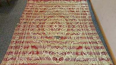 "Antique Eagle Coverlet 93.5"" x 76"" Red and Gold"
