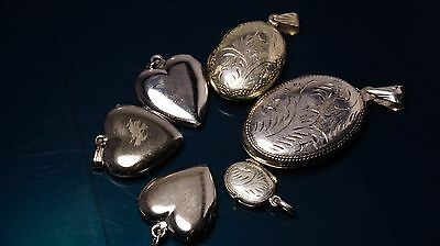 lot of Antique/vintage sterling silver picture's lockets different shape & size