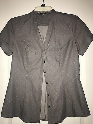Express Women's Gray  V-Neck Button Down Short Sleeve Career Top, Size S