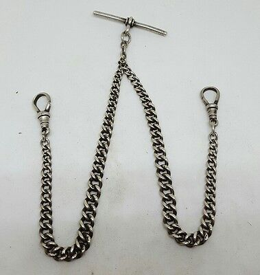 Victorian Solid Silver double albert pocket watch chain c1900