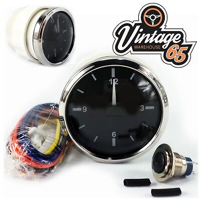 Classic Car Vintage Kit Car 52mm Stainless Steel Bezel Analogue Dashboard Clock