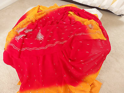 Indian Red and Orange  Saree with no Blouse