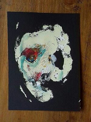 Original abstract portrait in emulsion, and gouache  paint contemporary art