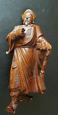 Antique Signed Carved Wood Figurine Warrior ? Chinese ? Japanese ?