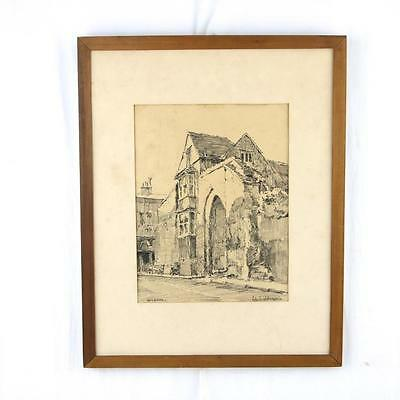 "Edward D. Robinson ""Guildford"" Charcoal Drawing Framed"