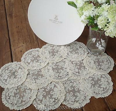 Exquisite! Antique FRENCH ALENCON LACE Set of 12 Goblet Doilies with BOX (ng)