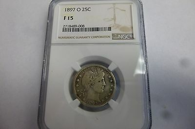 1897-O 25C Barber Quarter Graded By NGC F 15 Fine Looks VF