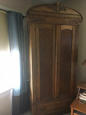 Antique Breakdown  Wardrobe Armoire Oak Light