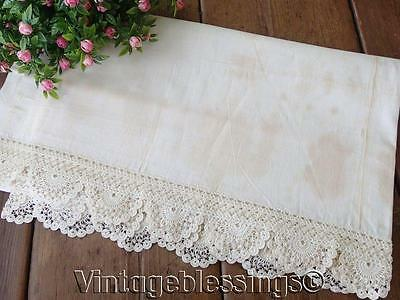 "Never Used ANTIQUE Trousseau Lace Trimmed Bed Sheet 89"" x 74"""