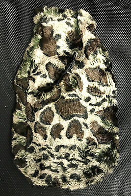 2L Brown Animal Print Leopard Knitted Hot Water Bottle Case Rubber Large Fluffy