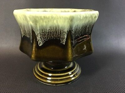 "Hull F3 Olive Green Drip Planter / Vase Panel Sides Vintage 3 1/2"" Tall 2X"