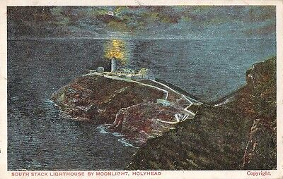 Vintage c1912 Postcard South Stack Lighthouse By Moonlight Holyhead Wales
