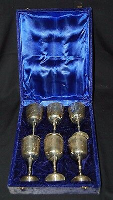 6 goblet set Silver plate with purple lined hinged case BFC/ B4