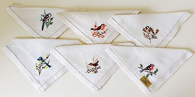 Vintage Set Of 6 Linen Napkins Each Embroidered With A Bird