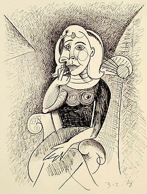 Cubism Portrait of Woman - Original Pen and Ink Drawing, Picasso/Era - Signed