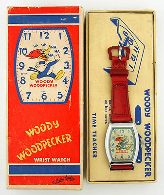 1950's Woody Woodpecker Walter Lantz Ingraham Character Watch in Original Box