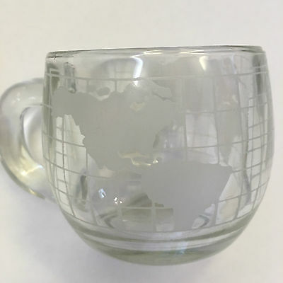 Nestle Nescafe Clear Glass Coffee Mug Frosted World Globe D Handle VINTAGE