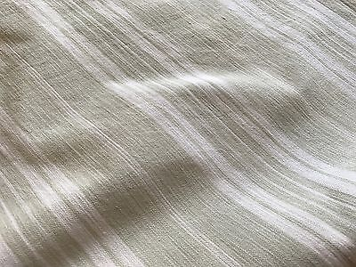 Antique French Ticking Fabric - Pale Grey Green & White Stripes