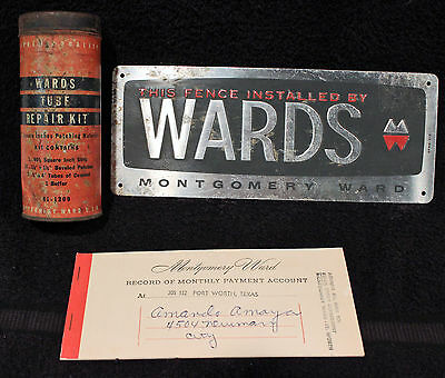 Vintage Montgomery Wards Tire Repair Tin/Fence Sign/Payment Book