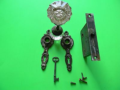 Vintage Antique   Glass Door Knobs ,plus lock and Key , hardware
