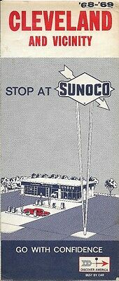 1962 SUNOCO Road Map CLEVELAND Ohio Shaker Heights Euclid Rocky River Brooklyn