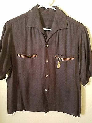 men's 1950s vintage brown tiki button up