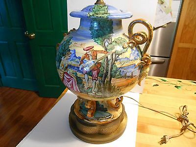 large vintage table lamp italy majolica 2 socket ornate brass base for parts