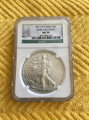 2012 W Ms 70 Ngc Burnished Silver Eagle Early Releases Christmas Tree Label!