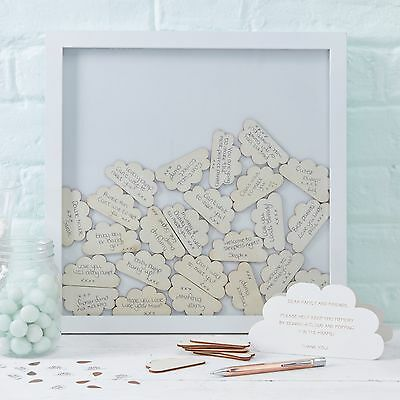 White Wooden Ginger Ray Drop Box Guest Book Baby Shower Christening Hello World