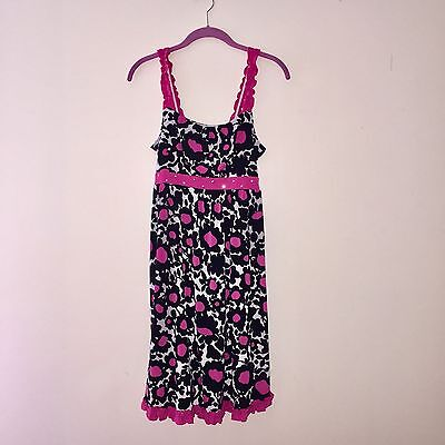 JUSTICE Size 18 Summer DRESS Pink Black Floral Print Sundress Spandex Girls