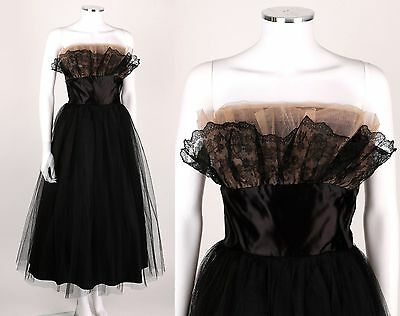VTG 1950s BLACK TULLE LACE SATIN STRAPLESS COCKTAIL PARTY DRESS SZ S