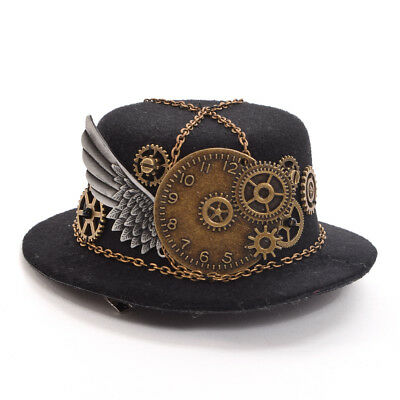 Goth Geer Wing Chain Girl Head Wear Retro Women Hairclip Steampunk Mini Top Hat