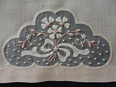 Exquisite Vtg MADEIRA Pink Linen Organdy Guest Towel Hand Embroidered PRISTINE