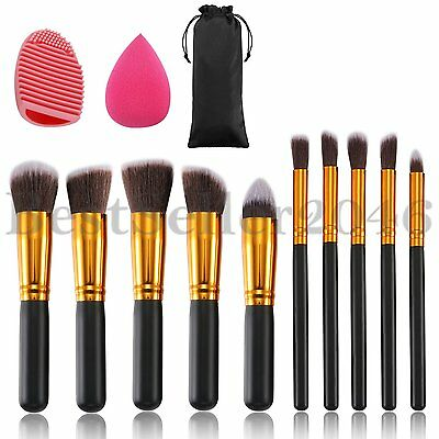 10pcs Makeup Brushes Set with Blender Sponge and Brush Egg Cosmetics Kit Tool