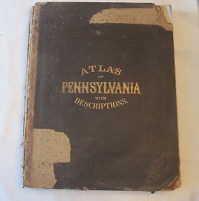 Antique 1872 Topographical Atlas Pennsylvania Historical Scientific Statistical