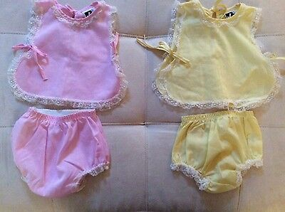 Lot of two Vintage Baby Girl 2 Piece Summer outfit's size 0-3 months. So sweet!!