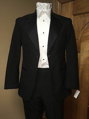 36S Black Tuxedo Jacket 100% Wool Notch Collar Formal Steampunk Dance Prom Band