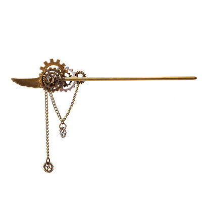 1pc Vintage Women Hair Stick Wing Chain Tassel Pattern Steampunk Gears Hairpin