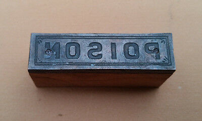 Antique Letterpress Apothecary Printing Blocks - POISON - Metal and Wood