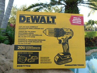 DEWALT DCD777CR 20-Volt 1/2-Inch Lithium-Ion Brushless Compact Drill Driver Kit